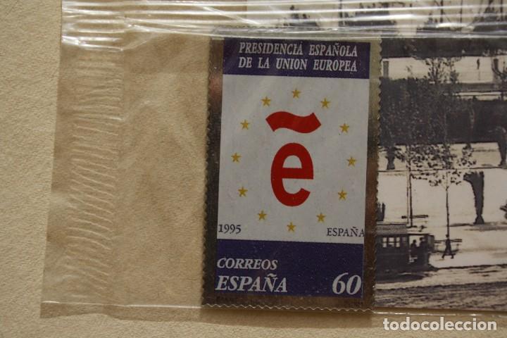 SELLO TROQUELADO METAL HUECOGRABADO: ESPAÑA PRESIDENCIA EUROPEA – NUEVO – FICHA TECNICA HISTORIA (Filatelia - Sellos - Reproducciones)