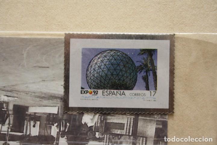SELLO TROQUELADO METAL HUECOGRABADO: EXPO 92 SEVILLA – NUEVO – FICHA TECNICA HISTORIA - POSTAL (Filatelia - Sellos - Reproducciones)