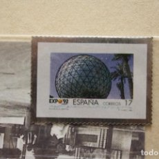 Sellos: SELLO TROQUELADO METAL HUECOGRABADO: EXPO 92 SEVILLA – NUEVO – FICHA TECNICA HISTORIA - POSTAL. Lote 276533188