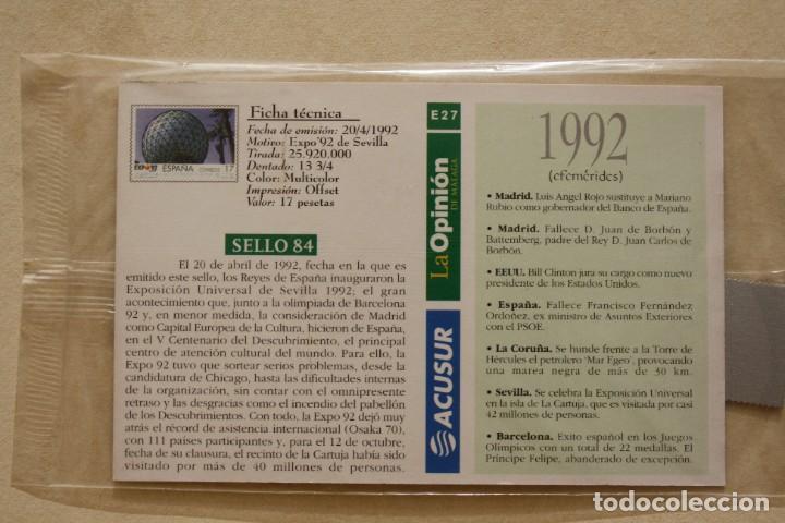 Sellos: SELLO TROQUELADO METAL HUECOGRABADO: EXPO 92 SEVILLA – NUEVO – FICHA TECNICA HISTORIA - POSTAL - Foto 3 - 276533188