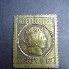 Sellos: EN METAL PLACA SELLO DE CORREOS DE 1853 6 REALES ISABEL II MIDE 4,5 X 3,5 CM. EN BUEN ESTADO ANTIGUA. Lote 276734563