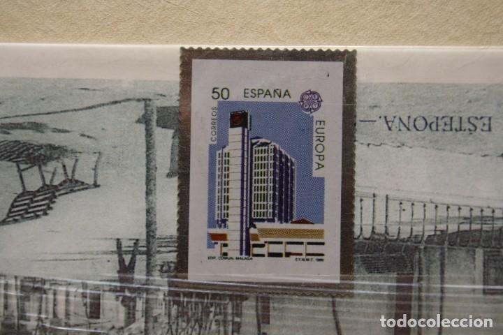 SELLO TROQUELADO METAL HUECOGRABADO: EDIFICIO MALAGA – NUEVO – FICHA TECNICA HISTORIA - POSTAL (Filatelia - Sellos - Reproducciones)