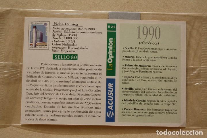 Sellos: SELLO TROQUELADO METAL HUECOGRABADO: EDIFICIO MALAGA – NUEVO – FICHA TECNICA HISTORIA - POSTAL - Foto 3 - 276740198