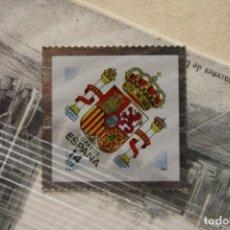 Sellos: SELLO TROQUELADO METAL HUECOGRABADO: ESCUDO ACTUAL ESPAÑA – NUEVO – FICHA TECNICA HISTORIA - POSTAL. Lote 277204188