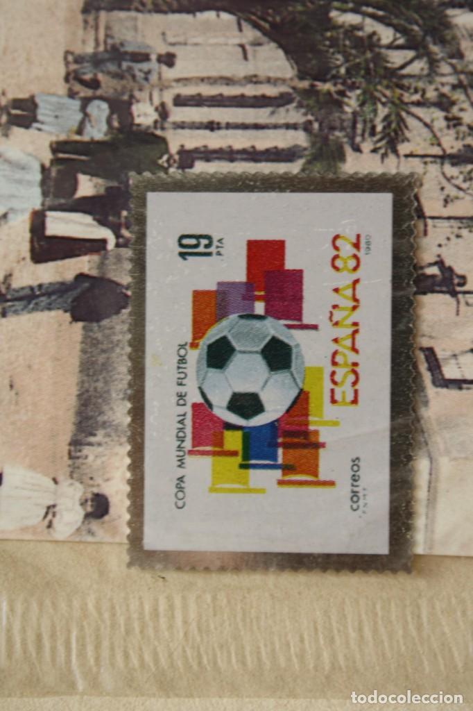 SELLO TROQUELADO METAL HUECOGRABADO: MUNDIAL FUTBOL ESPAÑA 82 – NUEVO – FICHA TECNICA - POSTAL (Filatelia - Sellos - Reproducciones)
