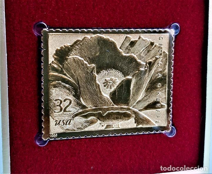 SELLO DE ORO 22.KT. GEORGIA OKEEFFE 1996 - 31 X 40.MM (Filatelia - Sellos - Reproducciones)