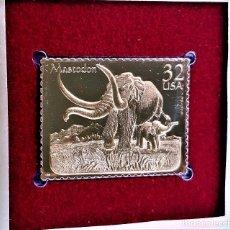 Francobolli: SELLO DE ORO 22.KT. PREHISTORIC ANIMALS MASTODON 1996 - 31 X 40.MM. Lote 284771068