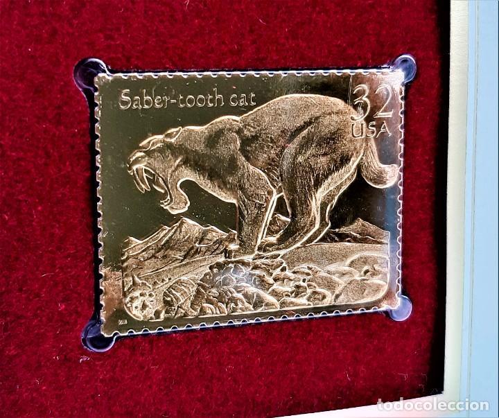 SELLO DE ORO 22.KT. PREHISTORIC ANIMALS SABER-TOOTH CAT 1996 - 31 X 40.MM (Filatelia - Sellos - Reproducciones)