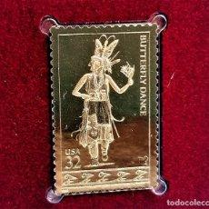 Francobolli: SELLO DE ORO 22.KT. AMERICAN INDIAN DANCES 1996 - 25 X 40.MM. Lote 285465773