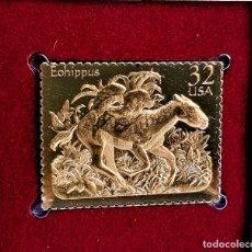 Francobolli: SELLO DE ORO 22.KT. PREHISTORIC ANIMALS 1996 - 31 X 40.MM. Lote 285685413