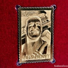 Timbres: SELLO DE ORO 22.KT. FOLK HEROES JOHN HENRY 1996 - 25 X 40.MM. Lote 287111933