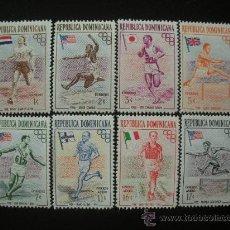 Sellos: REPUBLICA DOMINICANA 1957 IVERT 444/48 Y AEREO 101/03 *** JUEGOS OLÍMPICOS DE MELBOURNE - DEPORTES. Lote 21398565