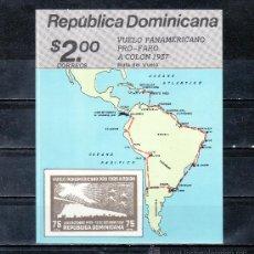 Sellos: REPUBLICA DOMINICANA HB 39 SIN CHARNELA, 50º ANIVERSARIO DEL VUELO PANAMERICANOS PRO FARO A COLON . Lote 25454984