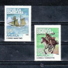 Sellos: REPUBLICA DOMINICANA 1157/8 SIN CHARNELA, TEMA UPAEP, VEHICULOS DE TRANSPORTE POSTAL . Lote 25456733