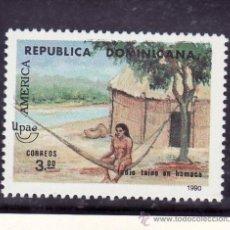 Sellos: REPUBLICA DOMINICANA 1084B SIN CHARNELA, TEMA UPAEP, INDIA EN UNA HAMACA FRENTE A SU CHOZA. Lote 25456955