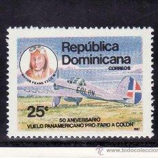 Sellos: REPUBLICA DOMINICANA 1030 SIN CHARNELA, AVION, 50 ANIVº VUELO PANAMERICANOS PRO FARO A COLON . Lote 151017244