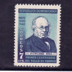 Sellos: REPUBLICA DOMINICANA 335 CON CHARNELA, CENTENARIO DEL SELLO, SIR ROWLAND HILL, . Lote 25459871