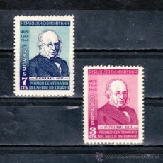 Sellos: REPUBLICA DOMINICANA 334/5 CON CHARNELA, CENTENARIO DEL SELLO, SIR ROWLAND HILL, . Lote 25459883