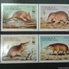 Sellos: SELLOS DE REPÚBLICA DOMINICANA. WWF FAUNA. MAMÍFEROS.YVERT 1145/8. SERIE COMPLETA NUEVA SIN CHARNELA. Lote 52740621