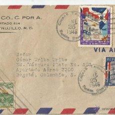 Sellos: REPUBLICA DOMINICANA - CORREO AEREO. 1945 - HISTORIA POSTAL REPUBLICA DOMINICANA-COLOMBIA 25 ENERO. Lote 204529750