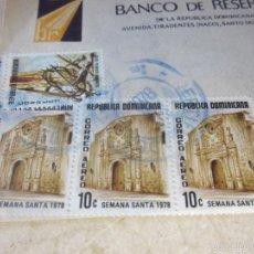 Sellos: TRES SELLOS USADOS 10 C REPUBLICA DOMINICANA MOTIVO SEMANA SANTA 1978. Lote 90939315