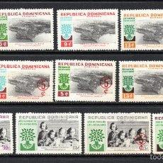 Sellos: DOMINICANA 534/39 Y AÉREO 142/45** - AÑO 1960 - AÑO MUNDIAL DEL REFUGIADO. Lote 60746575