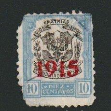 Sellos: REPÚBLICA DOMINICANA.HABILITADO 1915- 10 CENTAVOS..USADO.. Lote 77242633