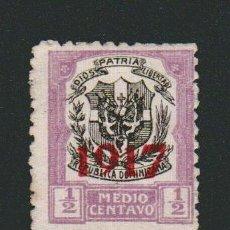 Sellos: REPÚBLICA DOMINICANA.HABILITADO 1917- 1/2 CENTAVO.USADO.. Lote 77243277