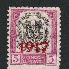 Sellos: REPÚBLICA DOMINICANA.HABILITADO 1917- 5 CENTAVOS.USADO.. Lote 77243649
