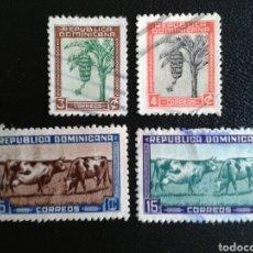 Sellos: REPÚBLICA DOMINICANA. YVERT 363/6. SERIE COMPLETA USADA. FRUTOS. GANADERÍA. MEDIO RURAL. Lote 86673852