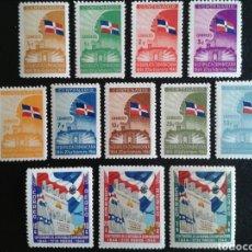 Sellos: REPÚBLICA DOMINICANA. YVERT 371/9 + A-51/3. SERIE CTA NUEVA CON CHARNELA. INDEPENDENCIA. BANDERAS. Lote 86674191