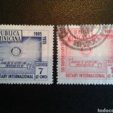 Sellos: REPÚBLICA DOMINICANA. YVERT 434 + A-95. SERIE COMPLETA USADA. ROTARY INTERNATIONAL. Lote 86793276