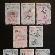 Sellos: REPÚBLICA DOMINICANA. YVERT 444/8 + A-101/3. SERIE COMPLETA NUEVA CON CHARNELA. DEPORTES. Lote 86793567