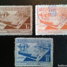 Sellos: REPÚBLICA DOMINICANA. YVERT 442/3 + A-100. SERIE COMPLETA USADA. AEROPUERTO. Lote 86795663