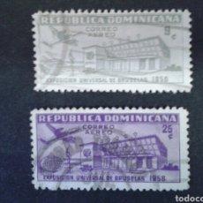 Sellos: REPÚBLICA DOMINICANA. YVERT A-132/3. SERIE COMPLETA USADA. EXPO BRUSELAS 1958. . Lote 86904120