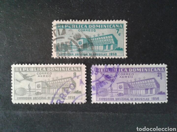 REPÚBLICA DOMINICANA. YVERT 509 + A-132/3. SERIE COMPLETA USADA. EXPO BRUSELAS 1958. (Sellos - Extranjero - América - República Dominicana)