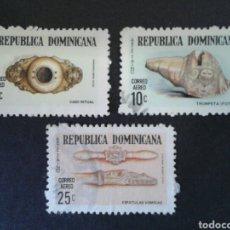 Sellos: REPÚBLICA DOMINICANA. YVERT A-222/4. SERIE COMPLETA USADA. ARTE TAÍNO. Lote 214311836