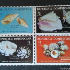 Sellos: REPÚBLICA DOMINICANA. YVERT 1350/3. SERIE COMPLETA NUEVA SIN CHARNELA. FAUNA. MOLUSCOS. CONCHAS. Lote 87125123
