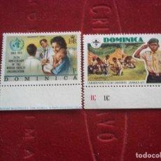 Sellos: 2 SELLOS DOMINICA 1973 1977 S/C UNC CON GOMA. Lote 91667765