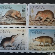 Sellos: REPÚBLICA DOMINICANA. YVERT 1145/9. SERIE COMPLETA NUEVA SIN CHARNELA WWF FAUNA.. Lote 95452424