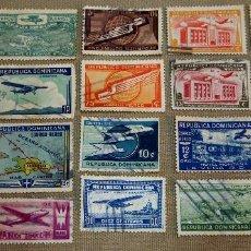 Sellos: LOTE DE 18 SELLOS DE REPUBLICA DOMINICANA, CORREO AEREO, USADOS, CON CHARNELA. Lote 102451691