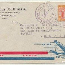 Sellos: CARTA CON MEMBRETE DE CIUDAD TRUJILLO (REPÚBLICA DOMINICANA) A SAN JUAN DE AZNALFARACHE (SEVILLA) -. Lote 112464695
