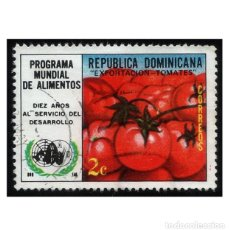 Sellos: REPUBLICA DOMINICANA 1974. MI 1079, YT 751. ALIMENTOS. TOMATES. USADO. Lote 141928118