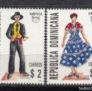 Sellos: REPUBLICA DOMINICANA 1996 - TRAJES REGIONALES - UPAEP - YVERT Nº 1236/1237**. Lote 155580742