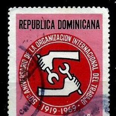 Sellos: REP. DOMINICANA SCOTT: C168-(1969) (CORREO AÉREO) (OIT ORG. INTERN. DEL TRABAJO) USADO. Lote 191930150