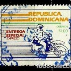 Sellos: REP. DOMINICANA SCOTT: E12-(1989) (ENTREGA ESPECIAL) (MOTORISTA EXPRES) USADO. Lote 191931405