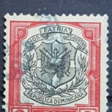 Sellos: REP. DOMINICANA_SELLO USADO_ESCUDO ARMAS ROJO NEGRO 2C_YT-DO 159 AÑO 1911 LOTE 8945. Lote 195061253