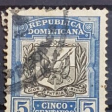 Sellos: REP. DOMINICANA_SELLO USADO_ESCUDO ARMAS 5C AZUL NEGRO_YT-DO 155 AÑO 1907 LOTE 8976. Lote 195061855