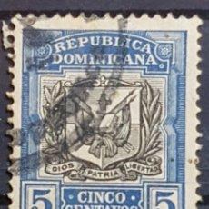 Sellos: REP. DOMINICANA_SELLO USADO_ESCUDO ARMAS 5C AZUL NEGRO_YT-DO 155 AÑO 1907 LOTE 8976. Lote 195061971