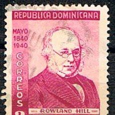 Sellos: REPÚBLICA DOMINICANA Nº 376 (AÑO 1,940), CENTENARIO DEL SELLO, ROWLAND HILL, USADO. Lote 198312516
